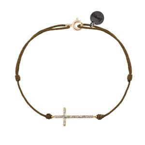 Bracelet Croix L Cordon Taupe
