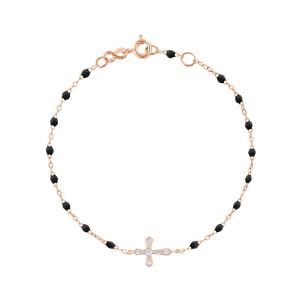 Bracelet Résine Croix Vintage Diamants Or Rose