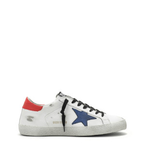 Baskets Homme Superstar Cuir Blanc Nubuck Bleu Rouge