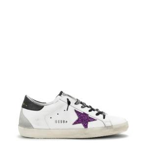 Baskets Superstar Cuir Blanc Glitter Violet