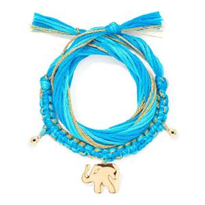Bracelet Honolulu Charm Éléphant Bleu Plaqué Or