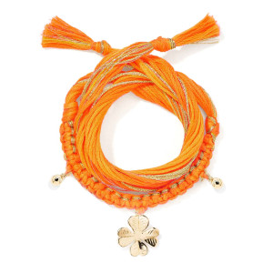 Bracelet Honolulu Charm Trèfle Orange Plaqué Or