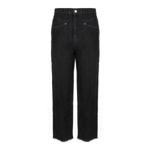 Pantalon Dilali Coton Noir Délavé