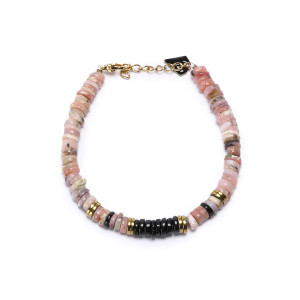 Bracelet Puka M Onyx Opale Rose