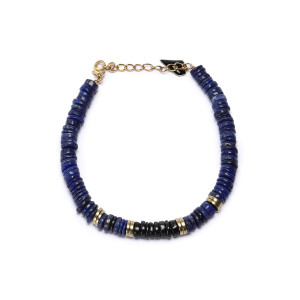 Bracelet Puka Onyx Lapis-Lazuli