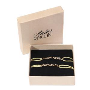 Coffret Fête des Mères Bracelets Maman Enfant Lurex Olive Gold Filled
