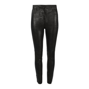 Pantalon Toma Cuir Noir Argenté