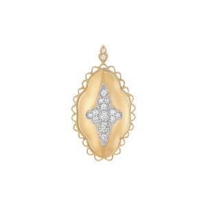 Pendentif Jade Diamants Or Jaune et Blanc