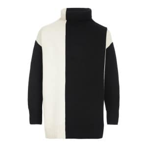 Pull High Neck Laine Ivoire Noir