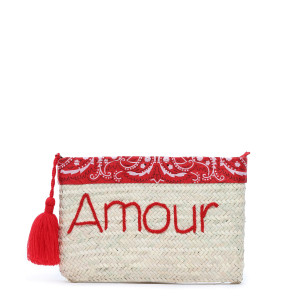 Pochette Paille Amour Bandana Rouge