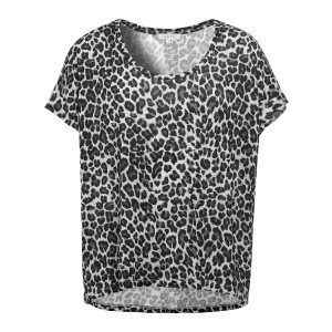 Tee-shirt Lyocell Imprimé Léopard Gris