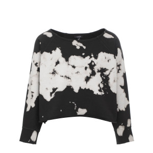 Sweatshirt Faly Crop Coton Tie and Dye Noir Blanc