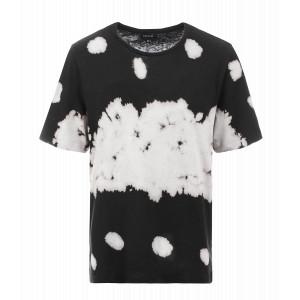 Tee-shirt Fay Coton Lin Tie and Dye Noir Blanc