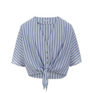 Top Rivage Noeud Coton Rayé Bleu Blanc