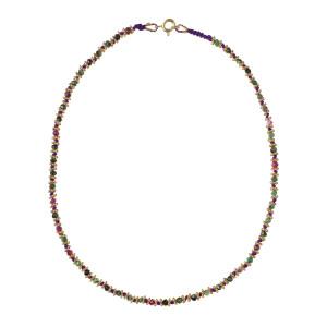 Collier Kamala Violet Rubis-Zoïsite Plaqué Or