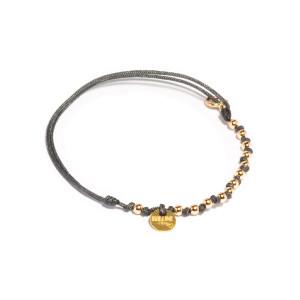 Bracelet Cordon Sublime M Comme Méditerranée 13 Perles Carbone Or