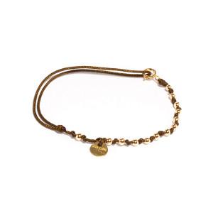 Bracelet Cordon Sublime M Comme Méditerranée 13 Perles Taupe Or
