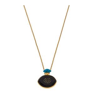 Collier Le Kodo Ébène Turquoise Or Jaune