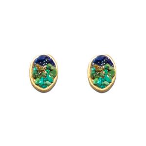 Boucles d'oreilles Puces Lakota Lapis Turquoise