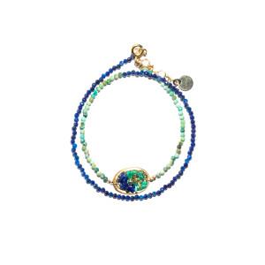 Bracelet 2 Tours Lakota M Lapis Turquoise