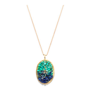 Collier Lakota Médaille Ovale XL Lapis Turquoise
