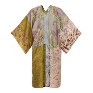 Veste Kimono Soie Imprimé Fruits, Capsule Recyclé