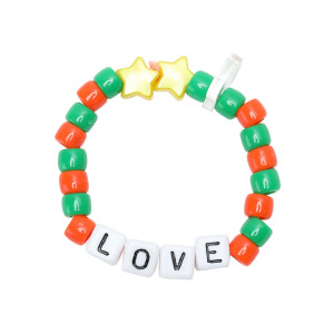 Bracelet Love Beads LOVE Orange Vert