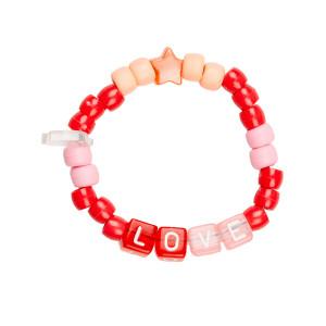Bracelet Love Beads LOVE Rouge Rose