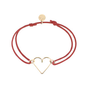 Bracelet Cœur Cordon Rouge Gold Filled, Exclusivité Lulli