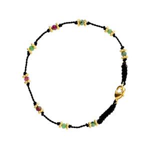 Bracelet Lotus Noir Rubis-Zoïsite Plaqué Or