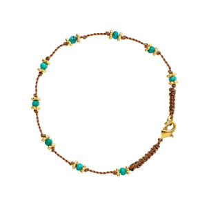 Bracelet Lotus Beige Turquoise Plaqué Or
