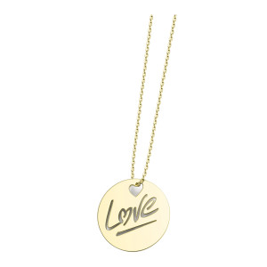 Collier Rond Love L Or Jaune