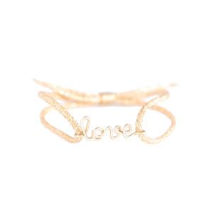 Bracelet Cordon Lurex Enfant Love Gold Filled 9K