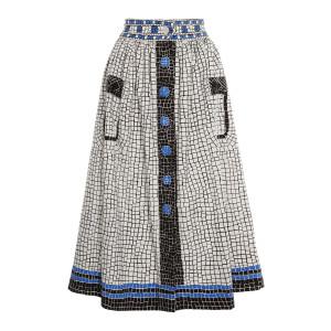 Jupe Mosaïque Coton Noir Blanc