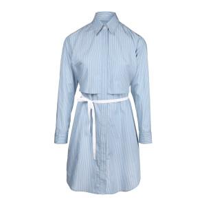 Robe Chemise Popeline Coton Blanc Bleu