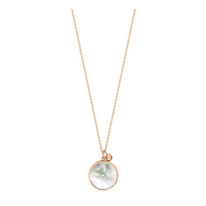 Collier Maria Disc Or Rose Perle