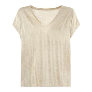 Tee-shirt Col V Lin Sable Doré