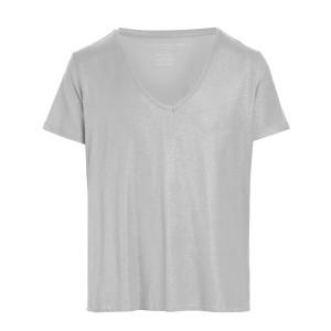 Tee-shirt Col V Gris Métallisé