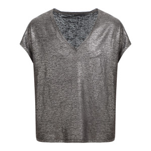 Tee-shirt Col V Lin Noir Métallisé