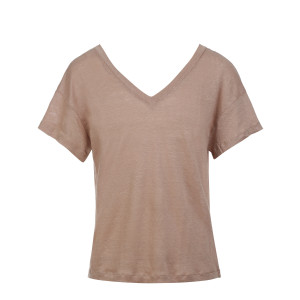 Tee-shirt  Dos Décolleté Lin Ficelle