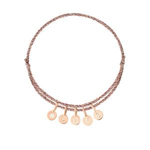 Bracelet Cordon 5 Médailles Or Trèfle Love