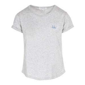 Tee-shirt Like Coton Gris Clair Chiné Bleu