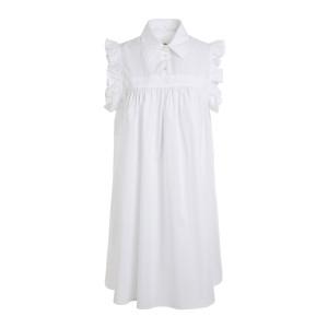 Robe Volants Jacquard Blanc
