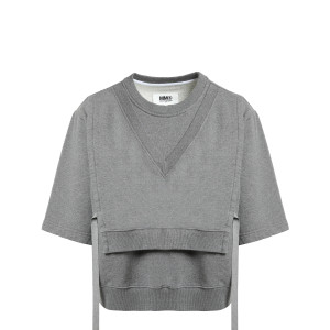 Sweatshirt Ruban Coton Gris Chiné