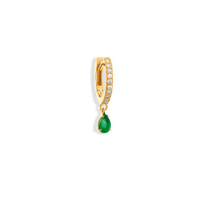 Mini Créole Elly Émeraude Diamants Or Jaune (vendue àl'unité)