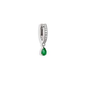 Mini Créole Elly Émeraude Diamants Or Blanc (vendue à l'unité)