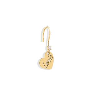 Boucle d'oreille Love Diamant Or Jaune (vendue à l'unité)