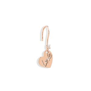 Boucle d'oreille Love Diamant Or Rose (vendue àl'unité)