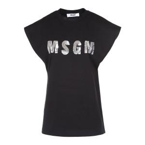 Tee-shirt MSGM Coton Sequins Noir Argenté