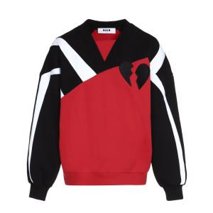 Sweatshirt Bicolore Noir Rouge